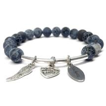 Grey agate love bracelet