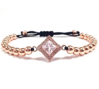Luxury rose gold stony cord bracelet