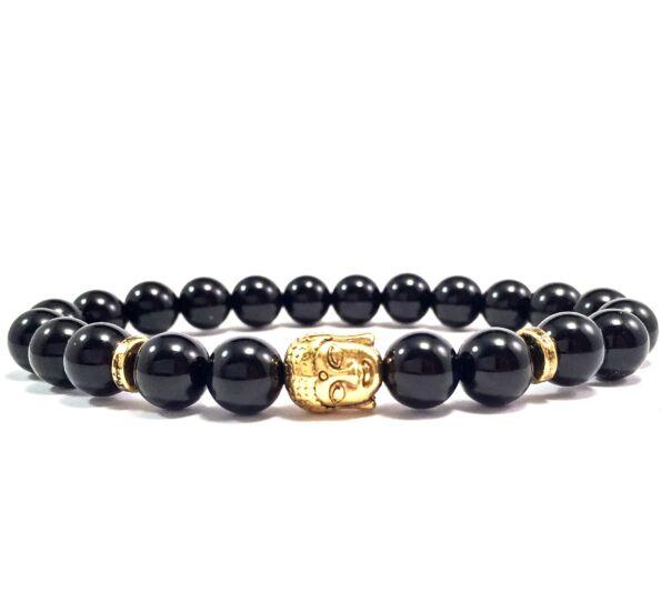 Onyx gold buddha bracelet
