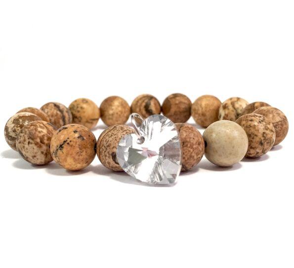 Jasper white diamond heart bracelet