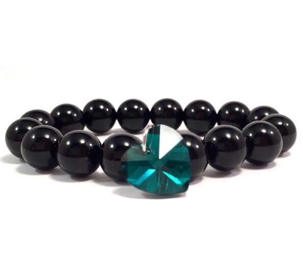Ónix sötét zöld kristály szíves 10-es karkötő