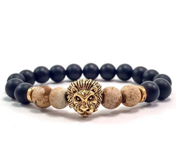 Matte onyx and matte jasper gold lion bracelet