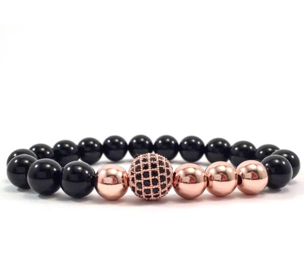 Onyx rosegold pearl and zircon ball beaded bracelet