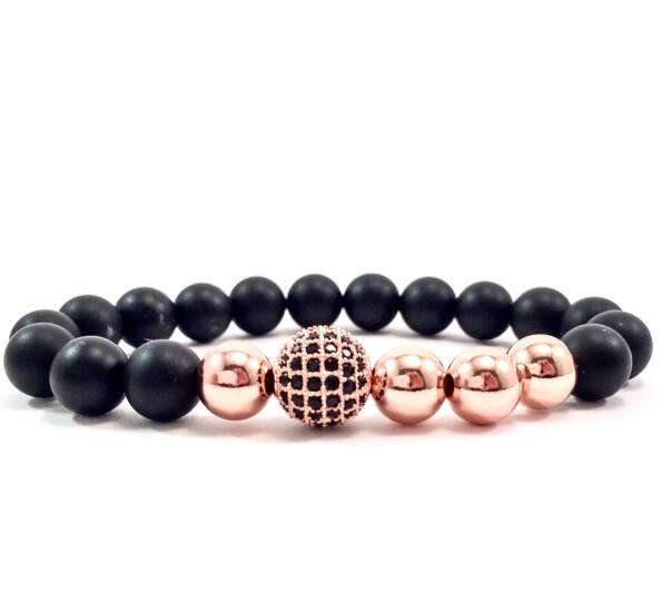 Matte onyx rosegold pearl and zircon ball beaded bracelet