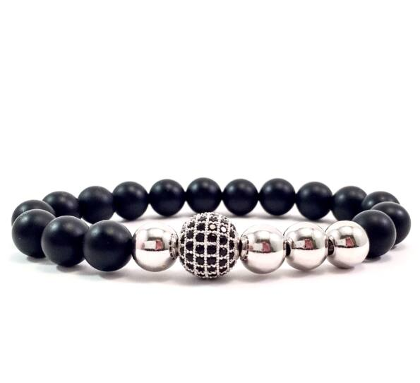 Matte onyx silver pearl and zircon ball beaded bracelet