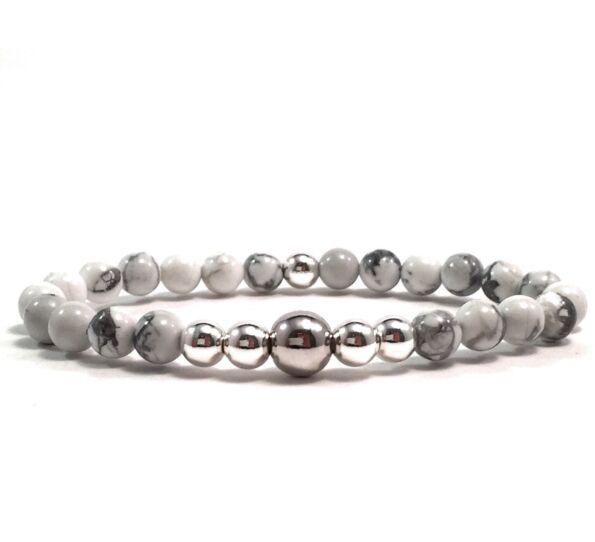 Howlite silver pearl bracelet