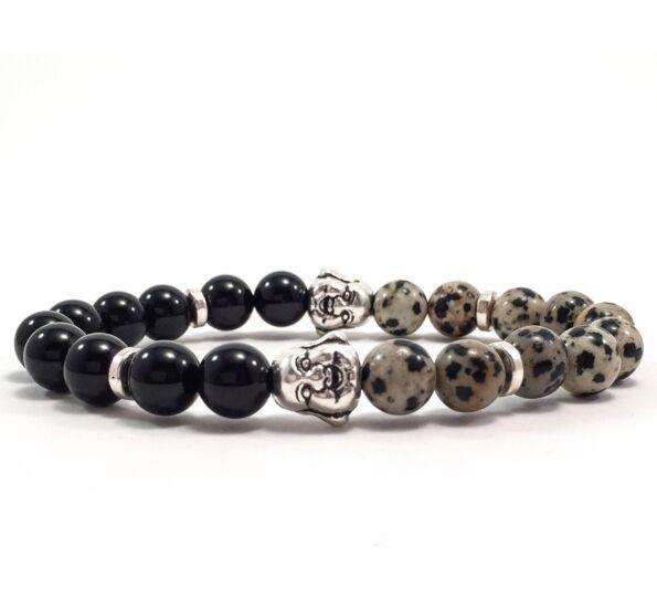 Onyx and dalmatian buddha bracelet