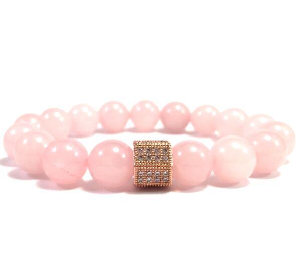 Rózsakvarc rozé hexagon 10mm-es gyöngy karkötő