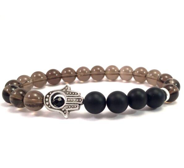 Cairngorm and matte onyx hamsa bracelet