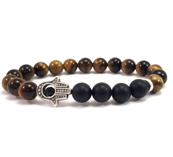 Tiger's eye and matte onyx hamsa bracelet