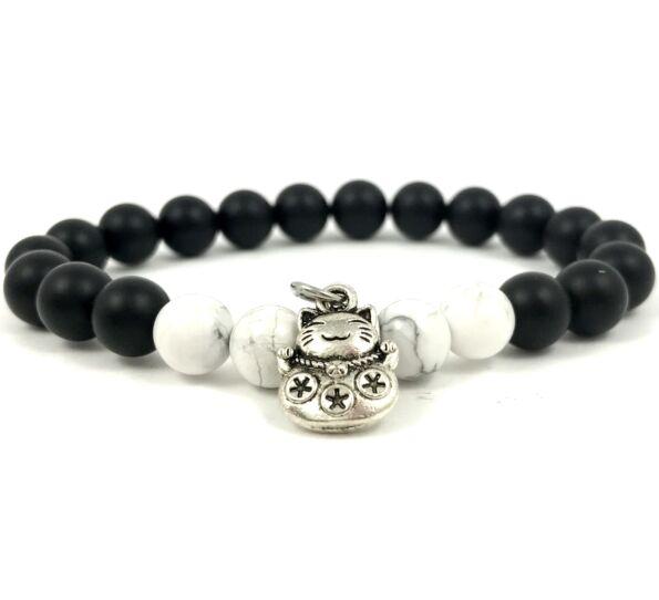 Matte onyx and howlite with maneki-neko cat bracelet
