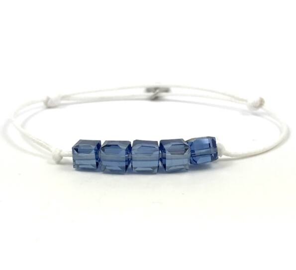 Summer cute kék kockás fehér zsineg karkötő