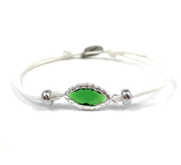 Summer cute zöld szemes fehér zsineg karkötő