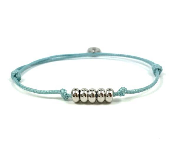 Summer cute ezüst gyűrűs kék zsineg karkötő