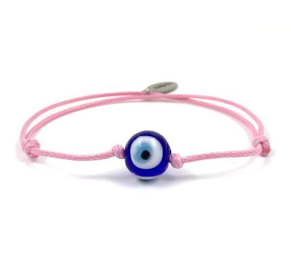 Summer cute Nazar szemes rózsaszín zsineg karkötő