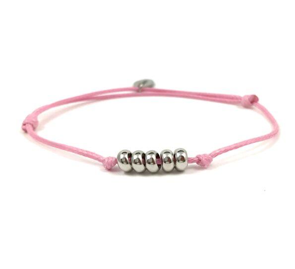 Summer cute ezüst gyűrűs rózsaszín zsineg karkötő