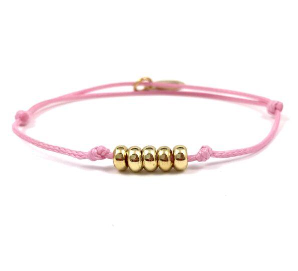 Summer cute arany gyűrűs rózsaszín zsing karkötő