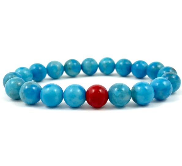 Turquoise and corall fleck bracelet