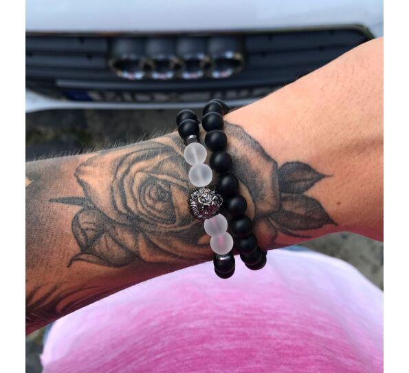 Matte onyx  lion bracelet