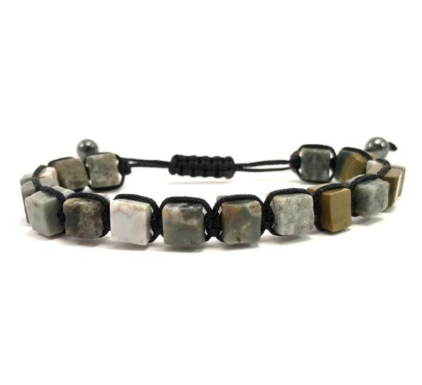 Ocean jasper cube cord bracelet