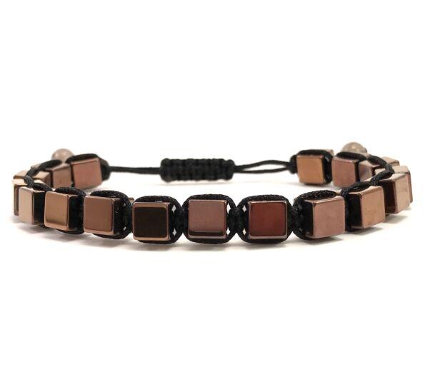 Bronze cube cord bracelet