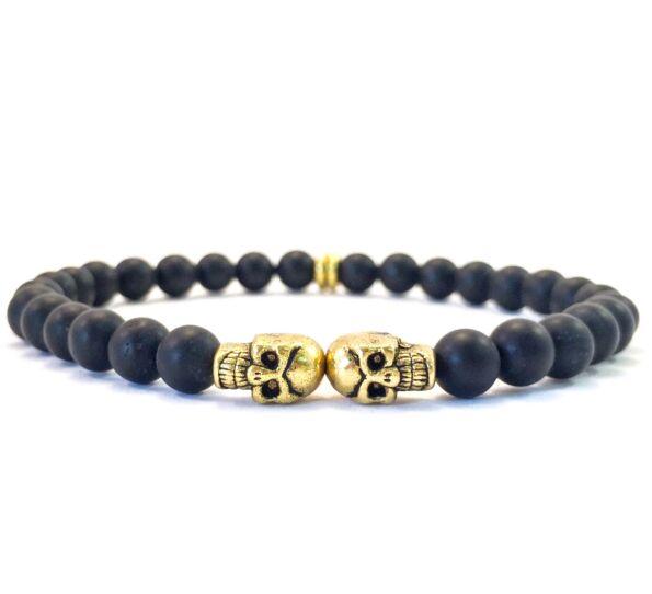 Matte onyx gold mini skull bracelet