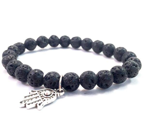 Lava bracelet with hamsa pendant