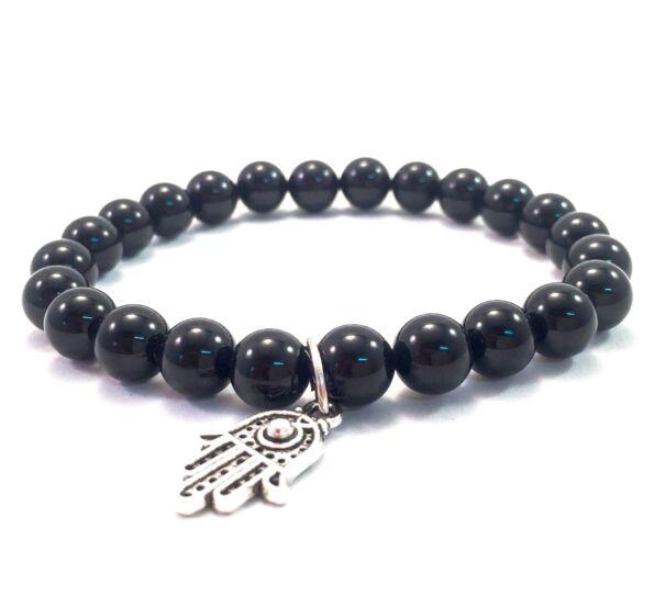 Onyx bracelet with hamsa pendant
