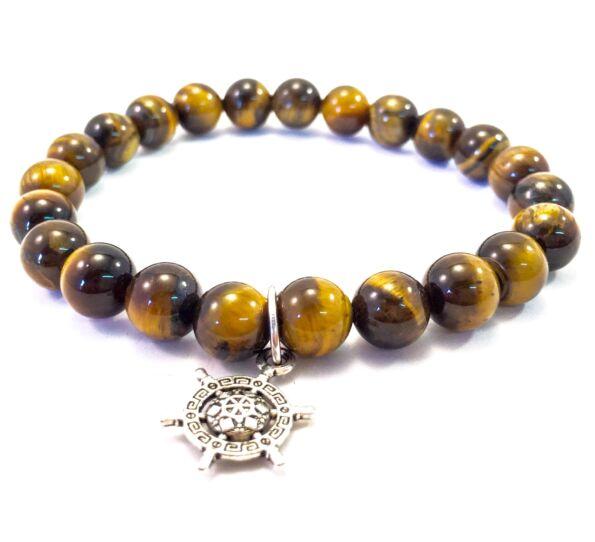Tiger' eye bracelet with ship rudder pendant