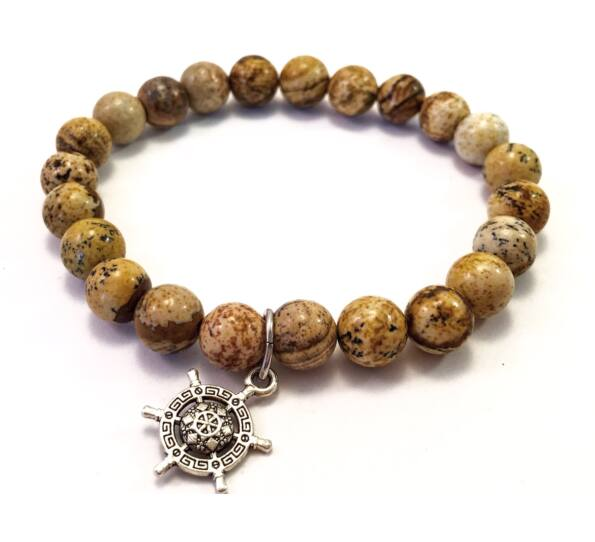Jasper bracelet with ship rudder pendant