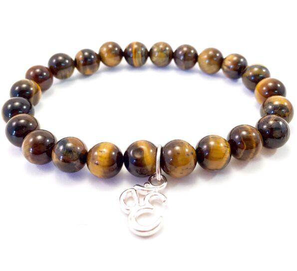 Tiger's eye bracelet with Ohm pendant
