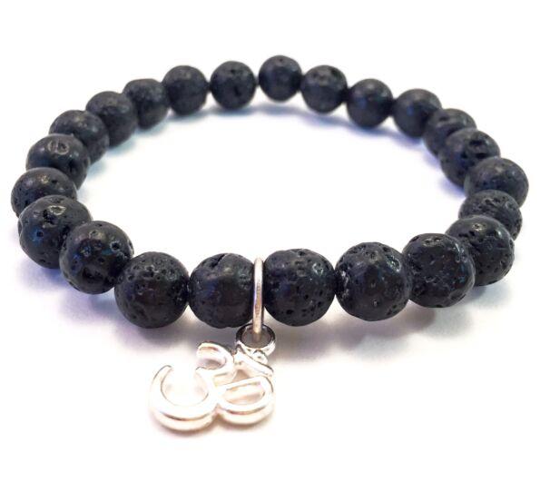 Lava bracelet with Ohm pendant