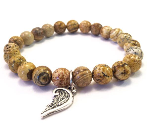 Jasper bracelet with angel pendant