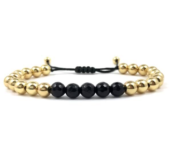 Gold pearl and faceted onyx cord bracelet