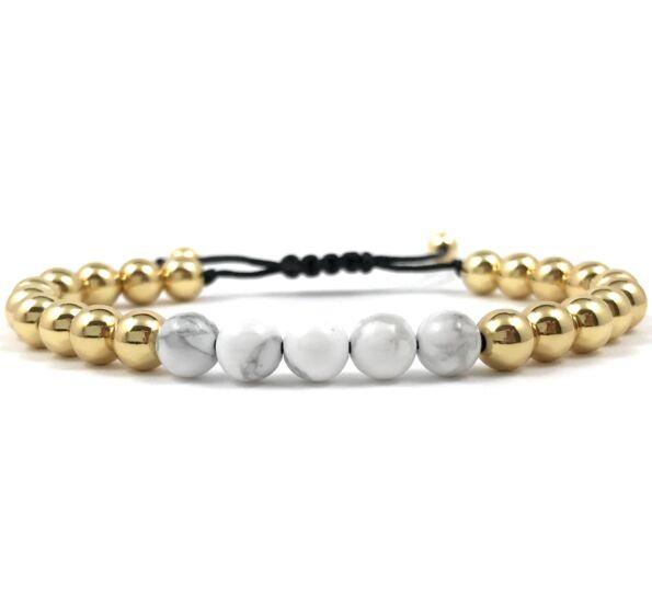 Arany gyöngy és howlit gyöngy cord karkötő