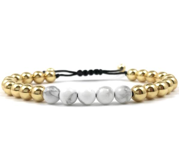 Gold pearl and howlit cord bracelet