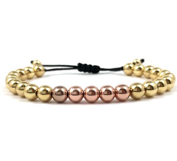 Arany gyöngy és rozé gyöngy cord karkötő