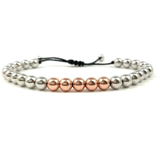 Silver pearl and rosegold  pearl cord bracelet