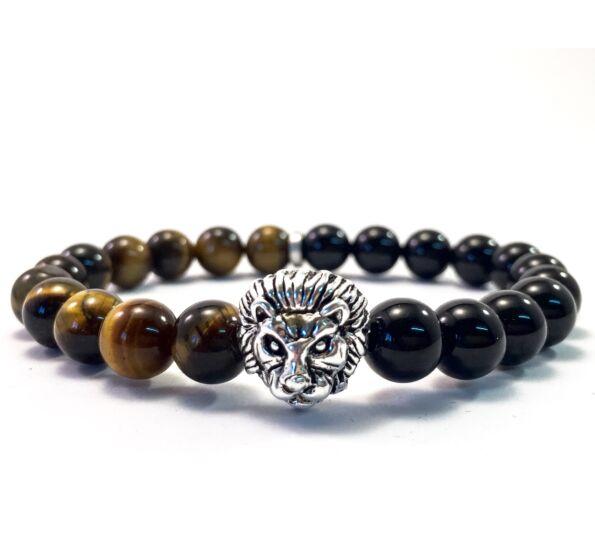 Ezüst feles oroszlános karkötő