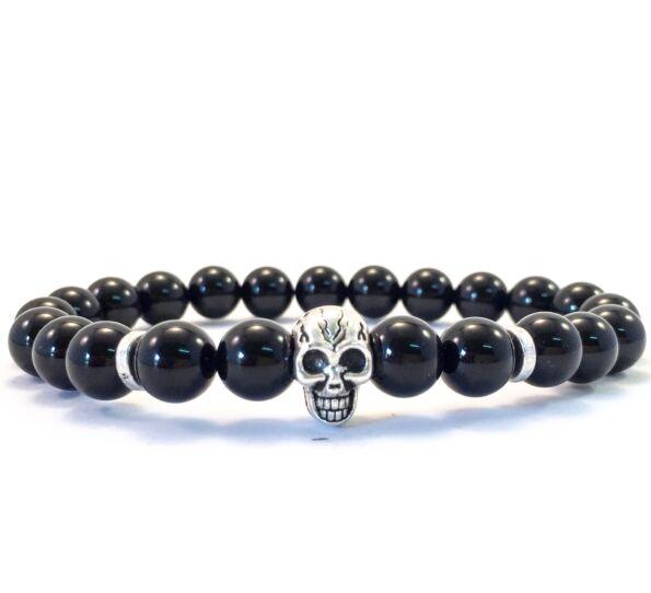 Onyx skull bracelet