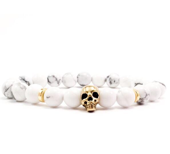 Howlit arany koponyás karkötő