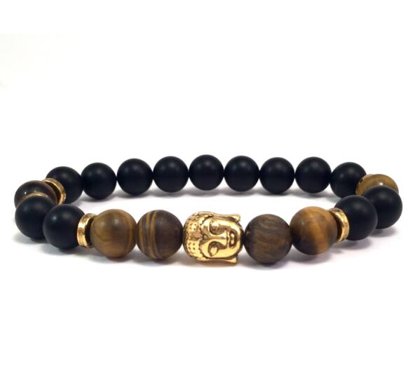 Matte onyx and matte tger's eye gold buddha bracelet