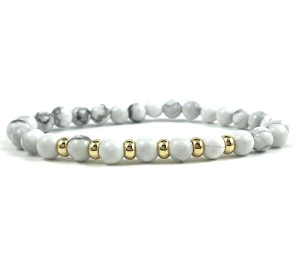 Howlite gold ring bracelet