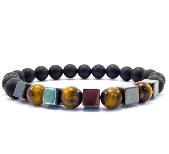 Matte onyx and tiger's eye hematite cube bracelet