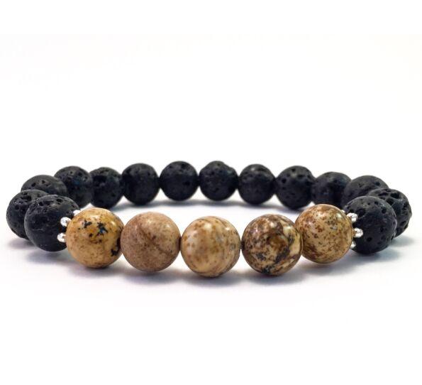 Lava and jasper 10mm bracelet FF