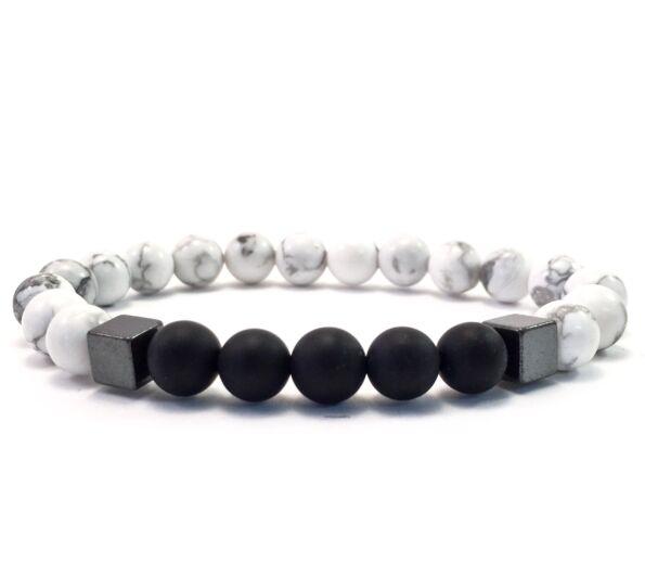 Howlite and matte onyx hematite 2 cube bracelet