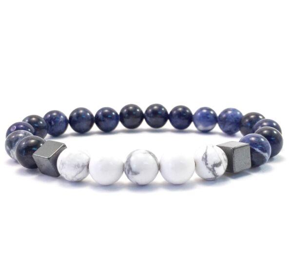 Sodalite and howlite hematite 2 cube bracelet