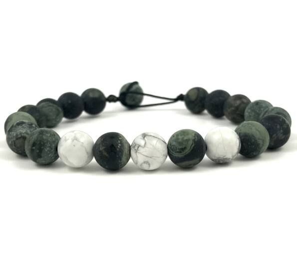 Kambaba jasper  and howlite beach bracelet