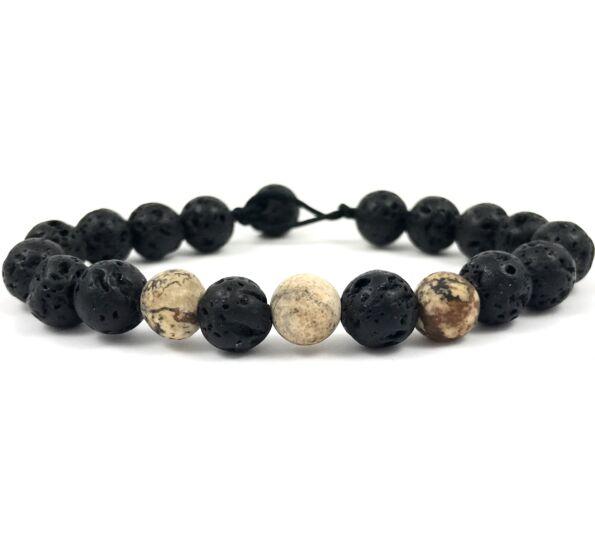 Matte onyx and jasper beach bracelet