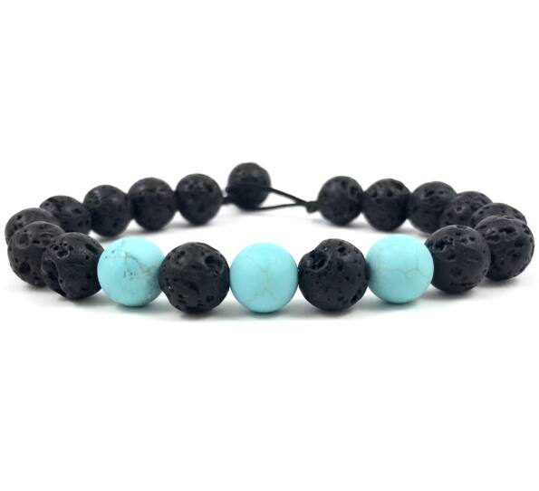 Matte onyx and matte turkic beach bracelet
